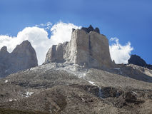 Incredible rock formation of Los Cuernos in Chile. The Horns in National Park Torres del Paine, Chile Royalty Free Stock Photography