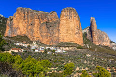 Incredible rocks -  Mallos de Riglos. (province of Huesca, Spain Royalty Free Stock Photos