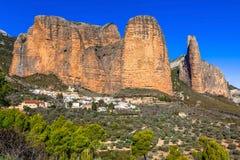 Incredible rocks -  Mallos de Riglos Royalty Free Stock Photos