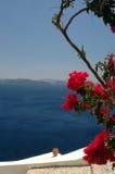 Incredible santorini. Greek island scene vase over the sea santorini Stock Photos