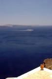 Incredible santorini island view greece Stock Photo