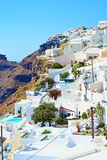 Incredible Santorini island village view Cyclades Greece. Spectacular view of overlooking the Caldera cave houses-luxury hotels in Fira vilage on the clifftop of Royalty Free Stock Images