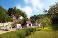 Incredible scenery with tree in sunlight in Rathen, Germany, Eur. Incredible scenery in Rathen, Germany, Europe Sachsische Schweiz stock images