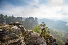 Incredible scenery wizz cliff near Rathen, Germany, Europe Sach. Sische Schweiz royalty free stock image