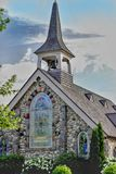 Little Stone Church Mackinac Island. Incredible stonework and stained glass artistry found in Michigans top vacation destination Royalty Free Stock Photo