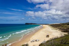 The incredible stretch of Fraser Island& x27;s sandy beach, Indian Head Lookout, Fraser Island Queensland royalty free stock images