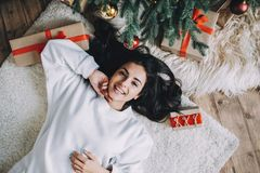 Portrait of beautiful girl before christmas royalty free stock photos