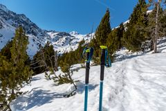 Incredible sunny day in winter in the Pyrenees in Andorra stock images