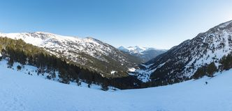 Incredible sunny day in winter in the Pyrenees in Andorra royalty free stock photography
