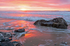 Incredible sunset at the atlantic ocean in Portugal Royalty Free Stock Photography