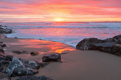 Incredible sunset at the atlantic ocean in Portugal Stock Photography
