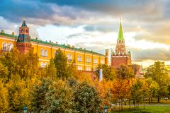 Incredible sunset in Manezhnaya Square in Moscow, Russia. Incredible sunset in Manezhnaya Square in Moscow Stock Image