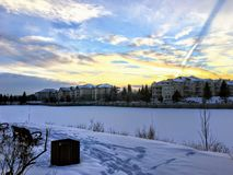 An incredible sunset over Beaumaris Lake, in Edmonton, Alberta, Canada. royalty free stock images