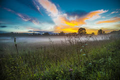 Incredible sunset in the village Royalty Free Stock Images