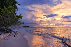 Incredible sunset on wonderful Turquoise Tropical Paradise Beach Royalty Free Stock Photos