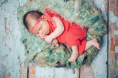 Sweet newborn baby sleeping in children nest Royalty Free Stock Photos
