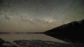 Incredible time lapse steady long exposure seascape view star meteor shower milky way galaxy in northern light night sky. Incredible time lapse steady long stock video