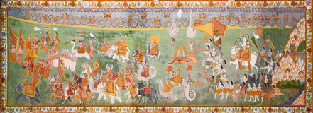 Incredible variety of hinduist gods on indian painting stock image