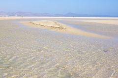 Incredible view of Costa Calma beach, blue clear lagoon. Playa Barca, Fuerteventura, Canary islands, Spain Stock Photos