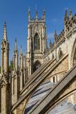 Incredible view of the flying buttresses and architectural details of York Minster Cathedral in Yorkshire, England. UK royalty free stock image