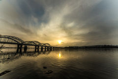 Incredibly beautiful cityscape. sunset. The bridge over the river. Incredibly beautiful cityscape. time just after sunset. The bridge over the river. In the Stock Photos