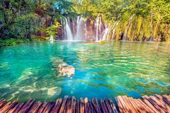Incredibly beautiful fabulous magical landscape with a waterfall royalty free stock image