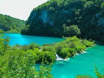 Incredibly beautiful landscape with a bridge near the waterfall in Plitvice, Croatia stock photography