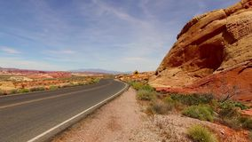 Incredibly beautiful landscape in Southern Nevada, Valley of Fire State Park USA. Smooth camera movement along the road. stock video