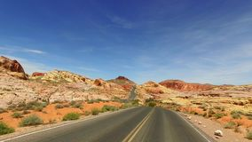 Incredibly beautiful landscape in Southern Nevada, Valley of Fire State Park USA. Smooth camera movement along the road. stock footage