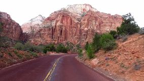 Incredibly beautiful landscape in Zion National Park, Washington County, Utah USA. Smooth camera movement along the road stock video