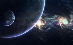 Deep space beauty, planets, stars and galaxies in endless universe. Elements of this image furnished by NASA. Incredibly beautiful space wallpaper. Elements of royalty free stock photo