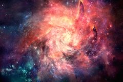 Artistic Unique Multicolored Bright Nebula Spiral Galaxy Artwork Background. Incredibly beautiful spiral galaxy somewhere in deep space in the universe royalty free stock photography
