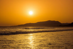 Incredibly beautiful sunset on the beach in Spain Stock Images