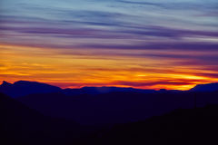 Incredibly beautiful sunset in the mountains Royalty Free Stock Photos