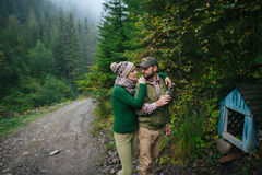 Incredibly beautiful and young couple walking in the  forest Stock Photography