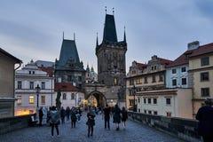 Incredibly härlig aftongata i Prague Arkivbild