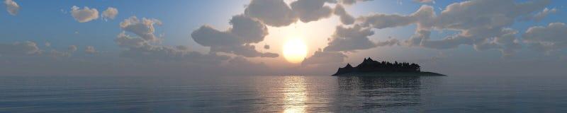 Incredibly härlig solnedgång på havet Arkivbild