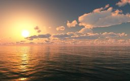 Incredibly härlig solnedgång på havet Arkivbilder