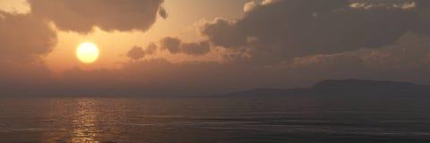 Incredibly härlig solnedgång på havet Arkivfoto