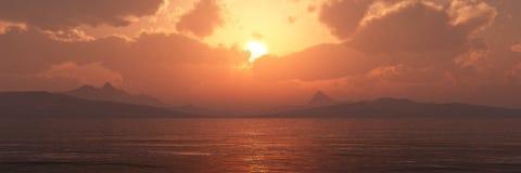 Incredibly härlig solnedgång på havet Arkivfoton