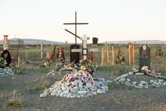 Incroci e lapidi su un cimitero Fotografia Stock Libera da Diritti