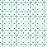 Incroci e modello senza cuciture dei punti Vector il fondo geometrico Più e cerchi verdi sul contesto bianco Struttura di Reapete illustrazione di stock