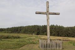 Incrocio cattolico in un villaggio Fotografia Stock