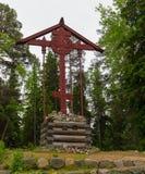 Incrocio commemorativo nello skete santo di ascensione sulla montagna di Sekirnaya fotografia stock libera da diritti