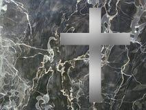 Incrocio d'argento e marmo nero Fotografie Stock Libere da Diritti