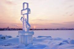 Incrocio del ghiaccio al tramonto Fotografia Stock