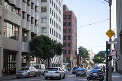 Incrocio dell'argilla e di Davis Street a San Francisco Fotografia Stock Libera da Diritti