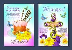 Incrocio della croce del manifesto di vettore di Pasqua, dolce pasquale illustrazione vettoriale