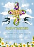 Incrocio della croce di Pasqua di vettore del manifesto dei fiori royalty illustrazione gratis