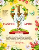 Incrocio della croce di Pasqua di vettore e corona pasquale illustrazione di stock